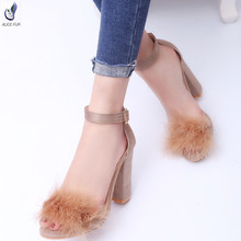 ALICEFUR Cheap price girls latest beautiful rabbit fur buckles high heel sandals