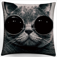 Top quality factory price glasses cat plush pillows square shape pillows plush animals pillows