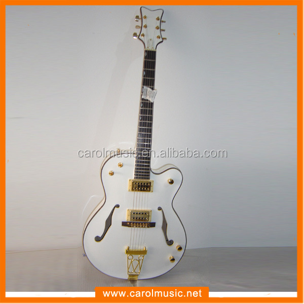 EHG006 Competitive price F Hole White color Hollow Body Electric Guitar