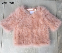 Warm Real Ostrich Leather Jacket Winter Women Turkey Fur Coat Short Sleeves