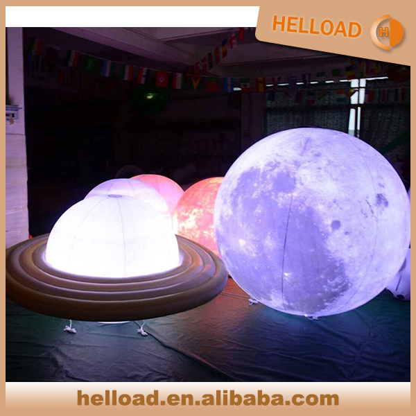 popular 1m/2m/3m led light solar system nine inflatable planet giant balloon wholesale