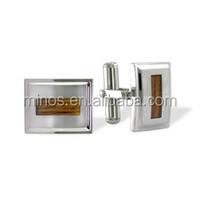 Fashion Rectangle Stainless Steel Cuff Links With Wood Inlay