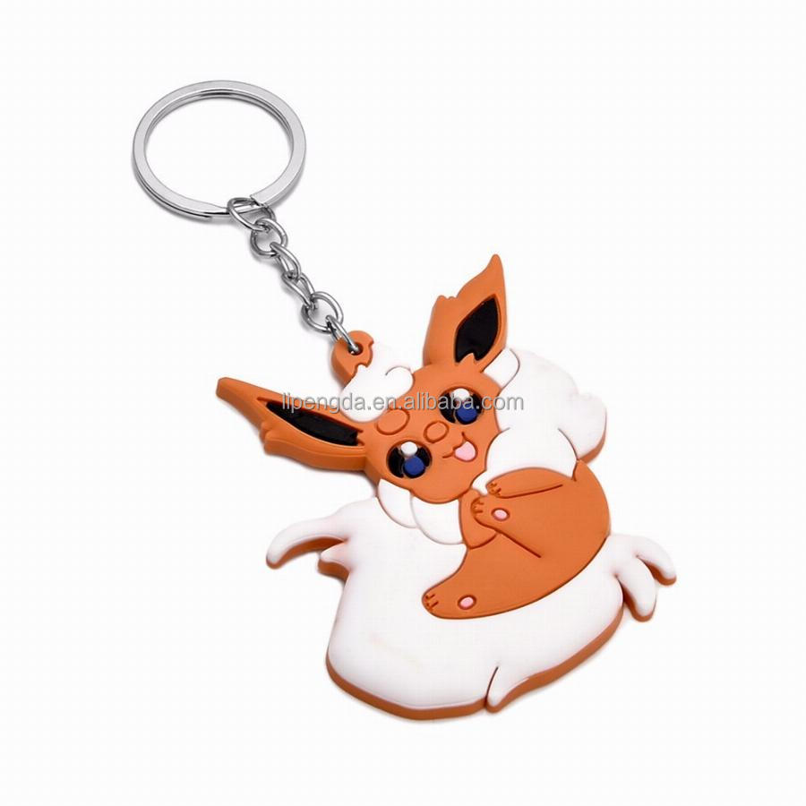2017 Wholesale custom cartoon 3D keyring Custom Logo silicone key chain