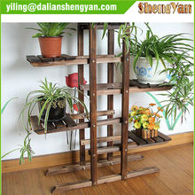Carbonized Treated Outdoor Wood Flower Stand