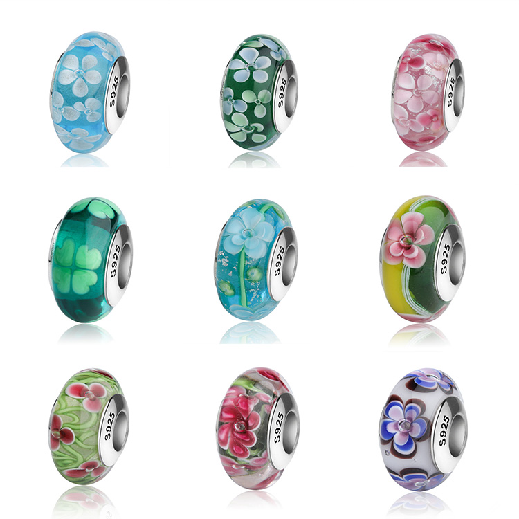 factory wholesale 925 sterling silver murano glass beads for bracelet making
