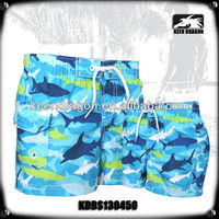 2014 hot sale kids swimwear waterproof microfiber fish printing boys swimwear