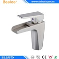 Beelee Brass Brushed Nickel Bathroom Waterfall Sink Faucet