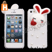 Cute 3D Rabbit Pattern Inlaid Rhinestone Pearl Diamond Hard Case for iPhone 5S 5