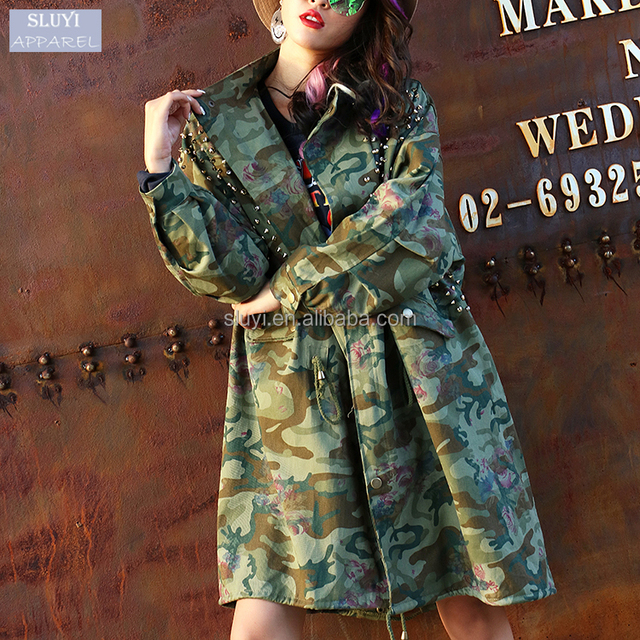 lady coat 2017 Fashion button up rib waist rivets design long sleeve camouflage jacket coat loose long womens jackets and coats