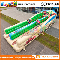 Commercial double lane inflatable bungee run race Bungy Run