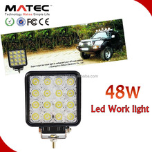 Car Accessories 4 Inch Square 48W LED Off Road Fog Flood Work Light For Truck, Jeep, Tractor, Automobile, Vehicle
