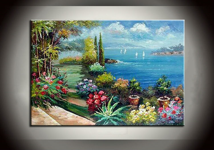 Handpainted Mediterranean Landscape Oil Painting For Livingroom Oil Painting With Frames Stretched Home Decoration