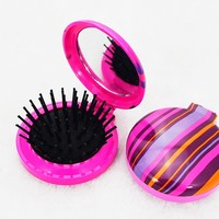 Small round plastic folding hairbrush with mirror,decorative mirror