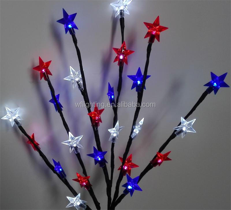 led christmas birch tree with five-pointed star led color light solar