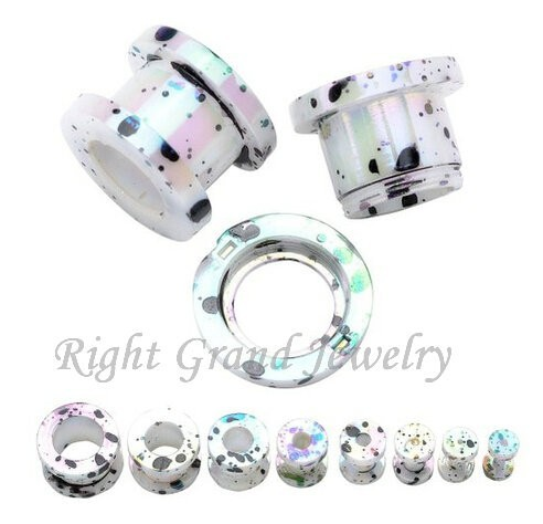 White Acrylic UV Screw Ear Tunnels Sex Flesh Tunnel Piercings