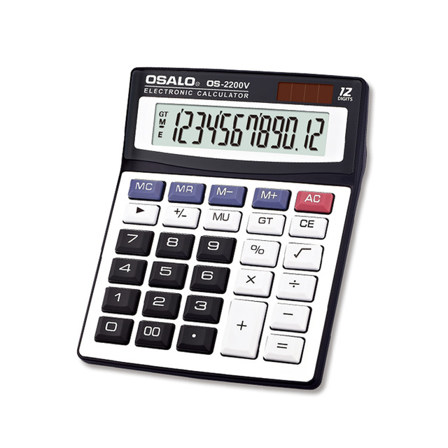 OS-2200V large screen dispaly calculator solar 12 digit big size office desktop calculator
