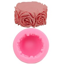 Food Grade Sugarcraft art Candle cylindrical Roses Silicone Fondant Mold, Hot sale Roses Silicone Fondant Mold