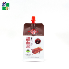 Convenient 4 Laminated plastic bag flat bottom pouch with spout use for roast duck sweet sauce
