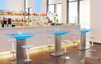 Glass top and metallic base designed illuminated cool pub furniture LED light bar table