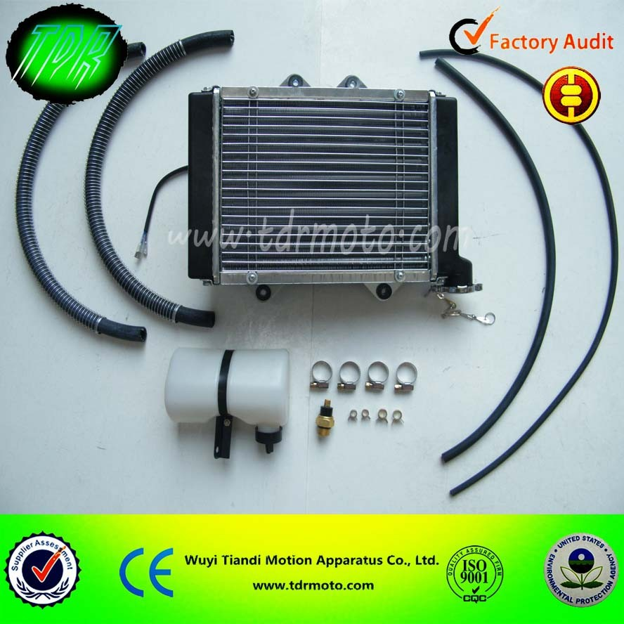 Aluminium radiator oil cooler for ATV, with water tank, cooling fan