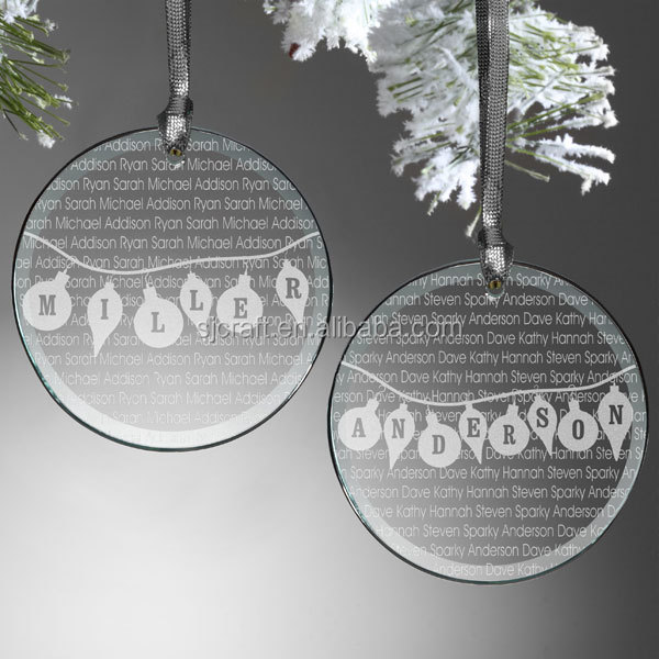 Family Circle Personalized Glass Ornament hanging ornament design Circle Personalized Ornament