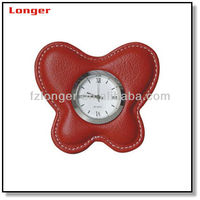 Mini fashion butterfly shape leather ce travel alarm clock for office table