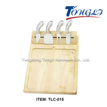 TLC-015 High quality wooden cheese board set with magnetic cheese knives holder