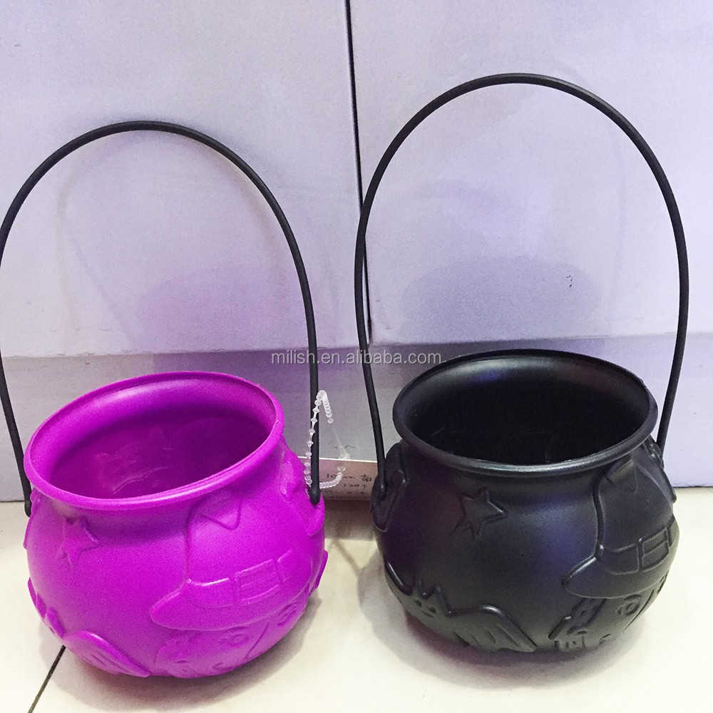 HH-0454 Party Halloween novelty children plastic witch cauldron toys set