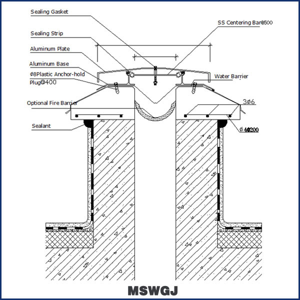 metal roof modular expansion joint in building materials