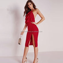 monroo color red open leg sexy clothes for women party dress