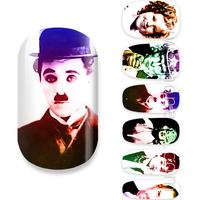 Chaplin photo design nail art
