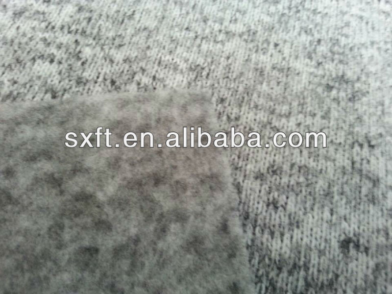 100% polyester yarn dyed knit brushed fleece fabric/heather grey colour