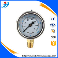 "hot selling2"" 50MM stainless steel case brass connection bottom type pressure gauge"