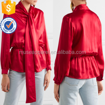 Red Long Sleeve Pussy-Bow Silk-Satin Women Blouse OEM/ODM Women Apparel Clothing Garment Wholesaler