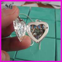 Heart Photo Lockets pendants necklace use 925 sterling silver