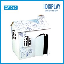 white cardboard kids DIY house /paintable paper house