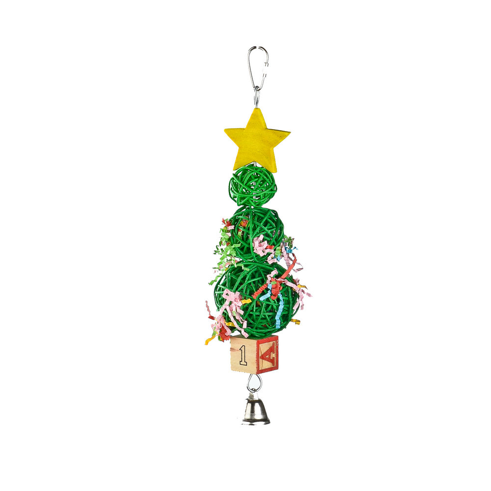 natural Vine Ball Christmas Tree parrot toy