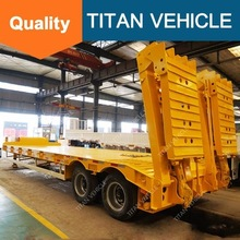 Titan 2 Axle 50 Tons New Design Extendable Front Loading Gooseneck Low Bed Trailer For Sale