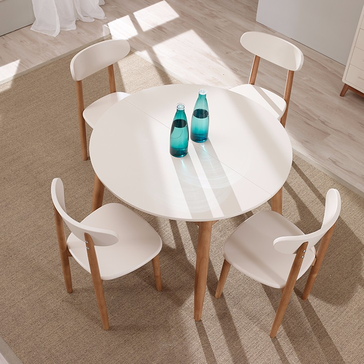 Modern wooden extendable white dining table for sale