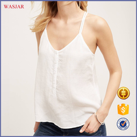 New arrival plain dyed chiffon summer fashion spaghetti strap sexy western tops ladies