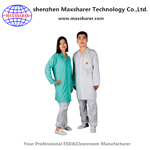 Maxsharer wholesale polyester 5mm grid esd smock safety clean room esd smock