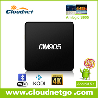 Hot Cloudnetgo CM905 4K S905 smart tv box quad core android tv box 5.1 Lollipop live xbmc / Kodi streaming tv box OEM accepted
