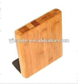Magnetic knife block / bamboo block with stainless steel
