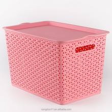 Strong Durable Medium Size Handle Storage Basket container box plastik with Lid and Handles