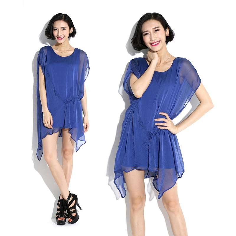 2015New Fashion Women Asymmetrical Faux two Chiffon Dress Ladie Summer Style Batwings Sleeve loose Fit Casual Vestidos plus size