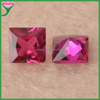 high quality 5# square shape princess synthetic loose rough rubies red corundum gemstone for sale