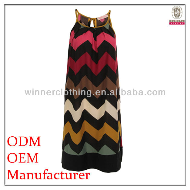 high fashion loose fit sexy fashion porm dresses with wave stripe print