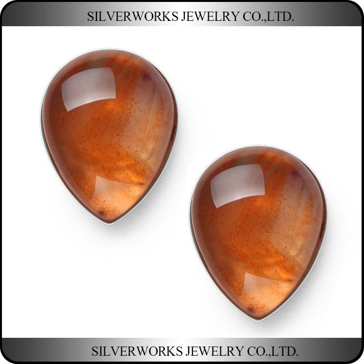 2017 Wholesale 925 Sterling Silver Tear-Drop Transparent Orange Agate Stud Earrings Jewelry