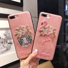 Newest fashion pink embroidery design soft tpu cellphone back cover case for mobile phone