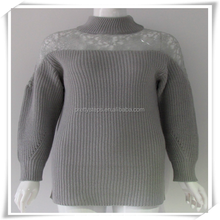 PRETTY STEPS Europe fashion item grey high collar long sleeve cashmere 100% Horizontal women heavy long knit Jacquard Sweater